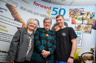 Dorothy Freeburn (Seniors Together), Pam Clearie and volunteer Donald Bulloch at Active Wednesday launch