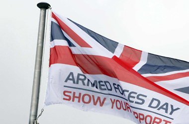 close-up of Armed Forces Day flag flying outside Council HQ in Hamilton