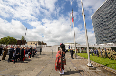 A specially commissioned flag being raised outside Council Headquarters, Almada St, Hamilton, on Saturday 18 June 2016 to mark Armed Forces Day