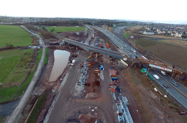 aerial view of M8/A8 Baillieston Interchange under construction