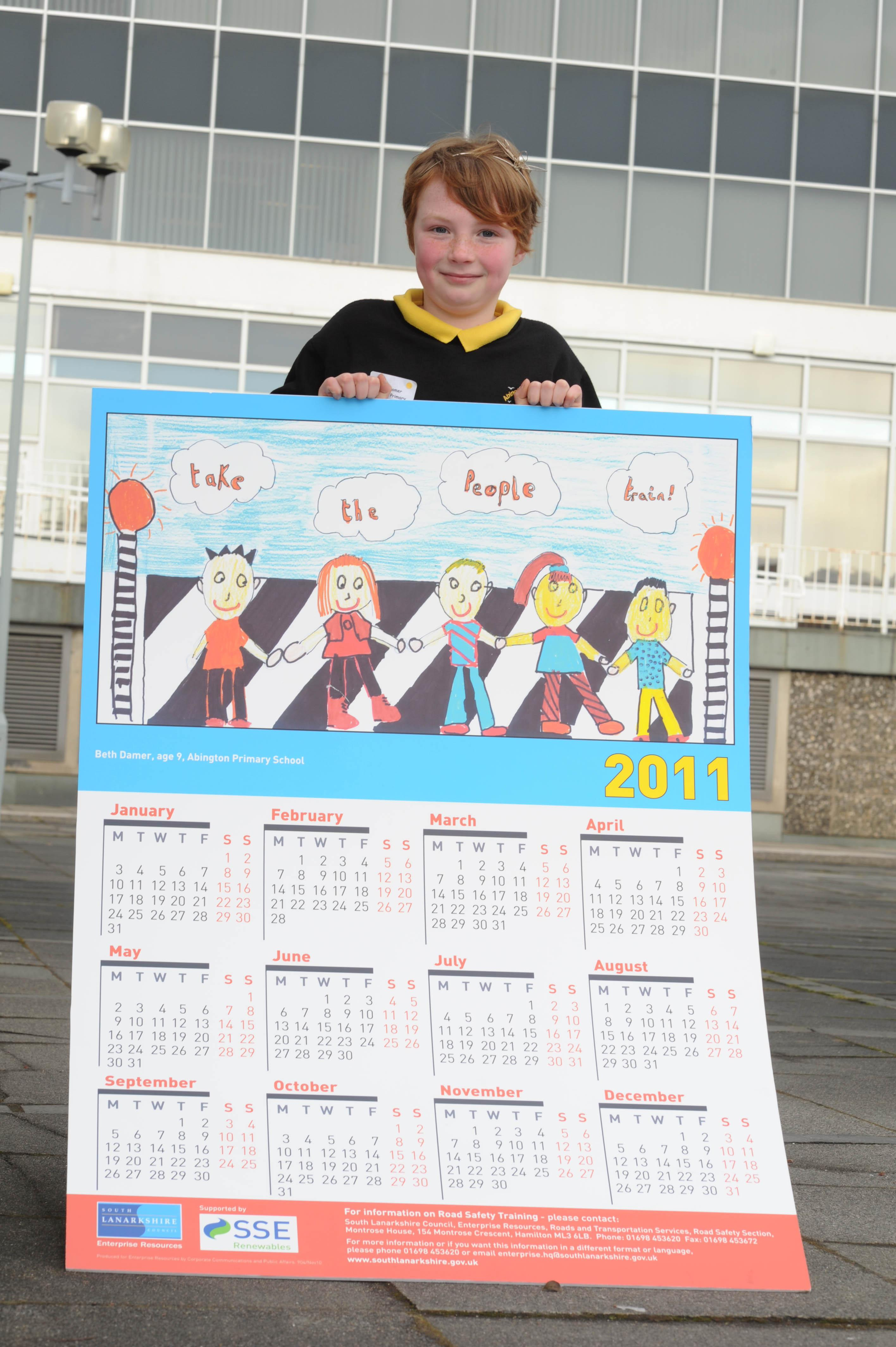 winner of road safety calendar with prize design