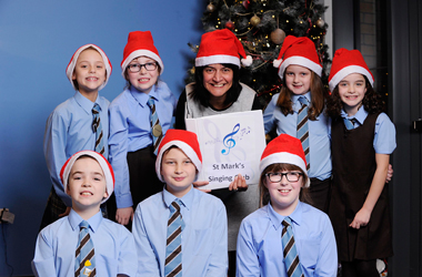 Carol Laula, one of Scotland's top recording artists dropped into St Mark's Primary School in Hamilton to give the keen Primary 4 to  Primary 7 Singing Club members some hints and tips