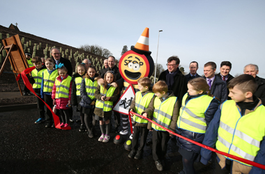 local primary school children at the opening of the Cathkin Relief Road on Friday 24 February 2017