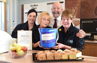 Catering staff at the council's headquarters recently received a certificate of appreciation from Cancer Research UK.