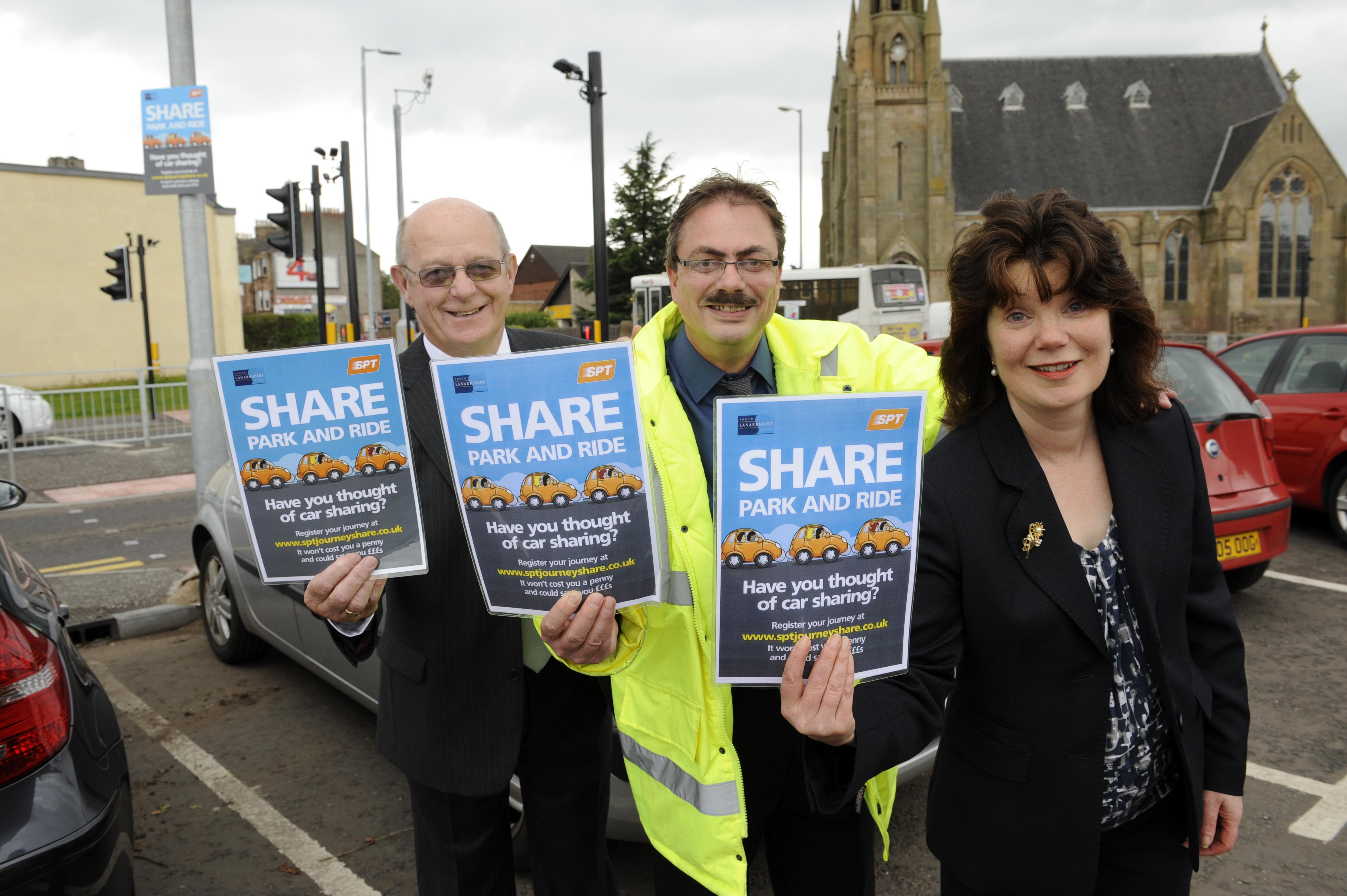 SPT vice chair and council officials at launch of care share park and ride scheme