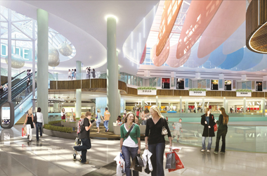 artists im[pression of new ice rink and shopping area at Eask Kilbride's Olympia mall