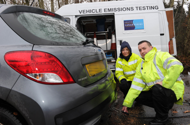technitians measuring emissions from car exhaust