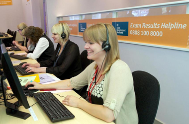Skills development Scotland call centre staff answering calls about exam results - picture taken from SDS website