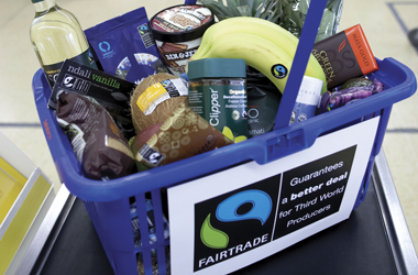 fairtrade goods in shopping basket - picture taken from Fairtrade website - photographer Marcus Lyons