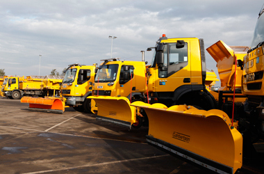 some of the council's fleet of vehicles with snow ploughs attached