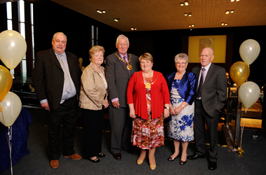 Harry and Irene Monteith from Motherwell; Provost of North Lanarkshire James Robertson; Provost South Lanarkshire Eileen Logan; Jeanette and John Cairns from Carluke