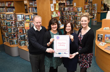 Hamilton library staff with their award