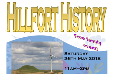 Poster highlighting the Whitelee Windfarm event on Saturday 26 May (11am-2pm) when there will be a ranger-led walk for all the family to Dunwan Hill, exploring the hillforts, witches, farms and forestry on the way