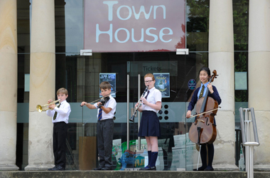 some of the primary school pupi.ls who took part in the Instrumental Music Service annual concert at Hamilton Town House