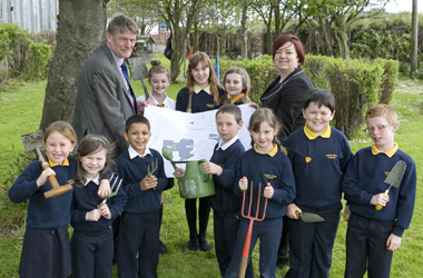 Pupils studying proposals for the new James Aiton Primary School playground