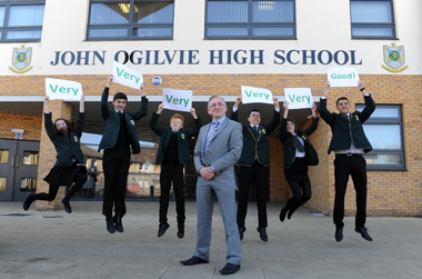John Ogilvie High school pupils and Head Teacher Eddie Morrison outside school