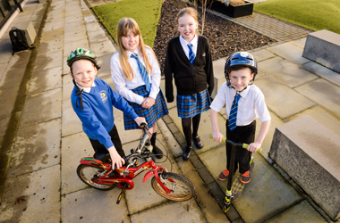 Long Calderwood pupils using bicycles and scooters to journey to school