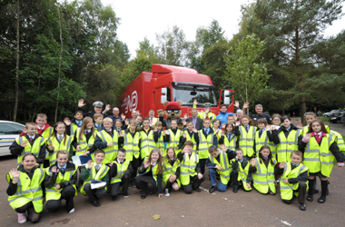 Junior road safety officers finding out about their new jobs at special event at Chatelherault