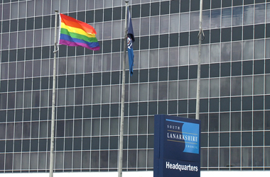 To mark International Day against Homophobia the council is flying the LGBT rainbow flag outside its headquarters in Hamilton