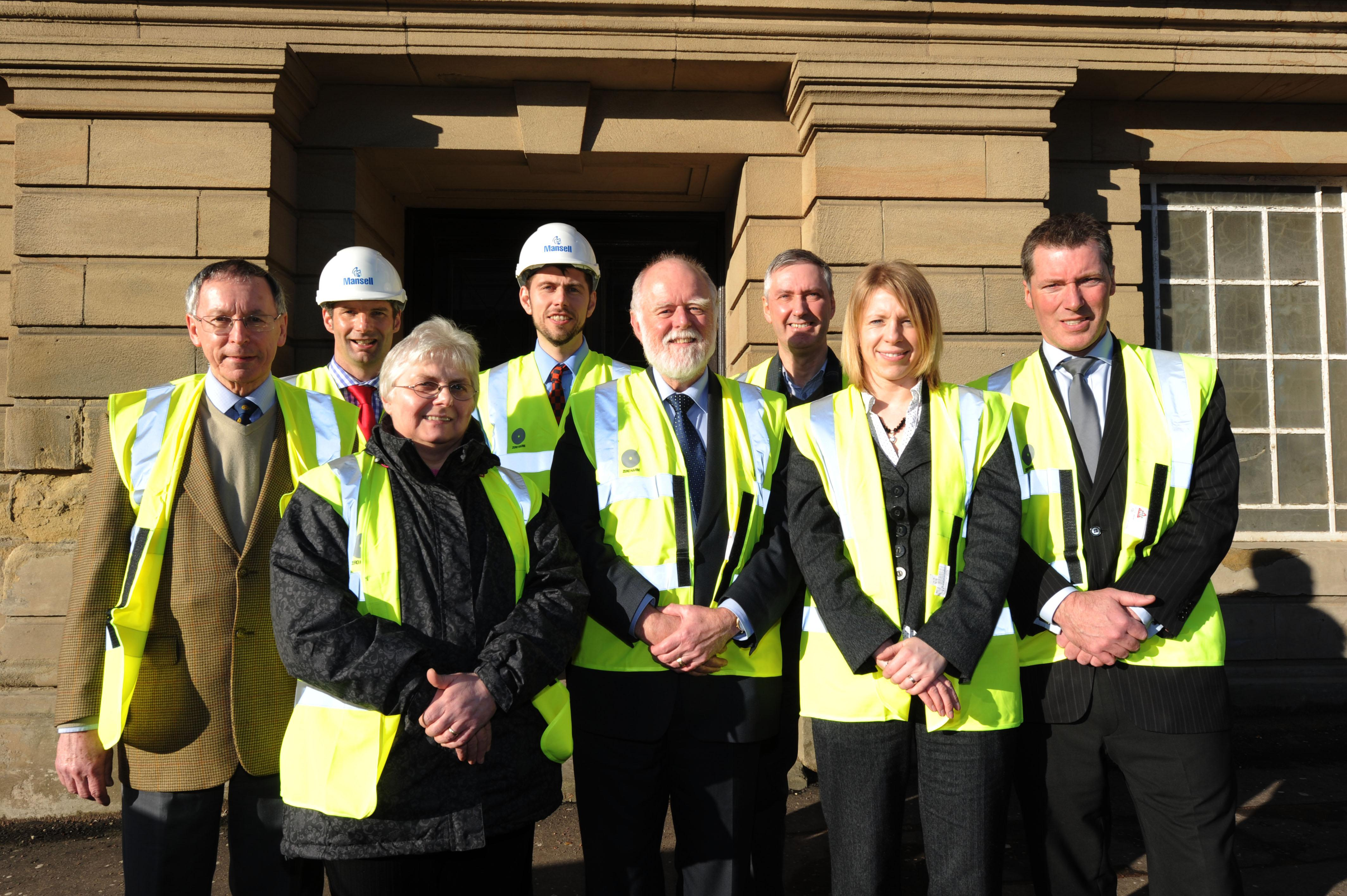 Mansell Regional Director, Callum Leslie, Mansell Site Manager, Simon Steel, South Lanarkshire Council Architect, Mark Hall with (front) Chair of Cargill House Club, Kevan Carty, Manager of Cargill House Club Margaret Maxwell, Depute Chair of Community Re