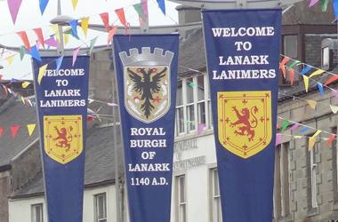 Lanimer flags flying along High Street in Lanark