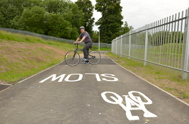Councillor Simpson at cycle routes which have been upgraded at Raploch pitches in Larkhall