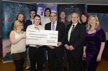 Young people from across South Lanarkshire with £2300 cheque for Wildhearts Action charity