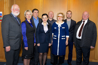 Councillors Hamish Stewart (L) and George Greenshields (R) with Moldovan trading standards delegation