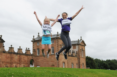 two youngsters getting excited about Chatelherault Country Park's Mud Madness event on Sunday 8 October 2017