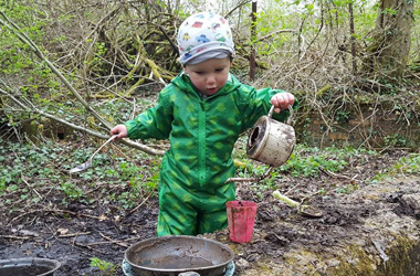 Making a mud kitchen. Image courtesy of OutLET: Play Resource