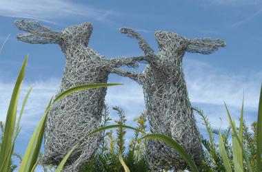 rabbits sculpture at New Lanark