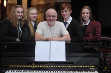 Hollywood composer Patrick Doyle with some of the young musicians taking part in the Creative Industries event at Hamilton Town House