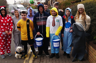 Project SEARCH group dressed up in their favourite onesies to complete sponsored walk around Strathclyde Park in aid of Kilbryde Hospice