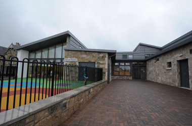 exterior view of Quarter primary and nursery entrance following newbuld in 2012