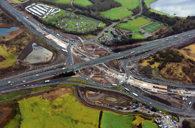 aerial view of Raith roundabout in December 2016