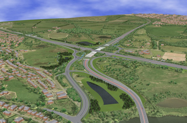 artists impression of how the Raith Interchange will look after the multi-million improvements