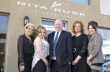 Councillor McAvoy with (L-R): Employees of Rita Rusk, Catherine McFadzen and Ashley Lees, Co-owner of Rita Rusk International, Yvonne Thomson and Nicola Mills