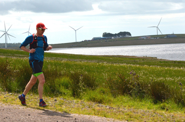 runner taking part in the Run the Blades event at Whitelee Windfarm in 2015