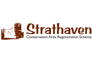 Strathaven Conservation Area Regeneration Scheme logo including outline image of the town's castle