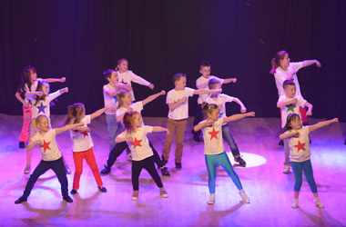 school pupils from across the Clydesdale area taking part in a celebration of dance at Lanark Memorial Hall