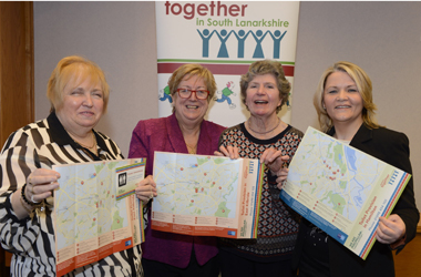 photo shows Arlene McNeil of Seniors Together, Depute Provost and Older People's Champion, Councillor Pam Clearie, Helen Biggins of Seniors Together and Heather Woods from Macmillan Cancer Support
