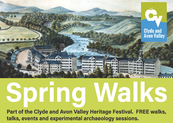 Spring Walks Poster which features image of New Lanark: View from the North East, John Winning, 1818 (watercolour). Copyright New Lanark Trust
