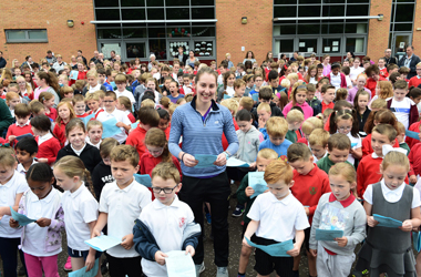 Just days after securing her highest world ranking Badminton star Kirsty Gilmour opened a primary school fun and fitness trail.
