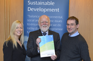 Chair of Community Services Committee, Councillor Hamish Stewart with sustainability officers at launch of second development strategy