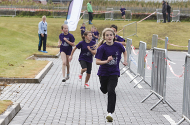 school pupils taking part in Triathlon