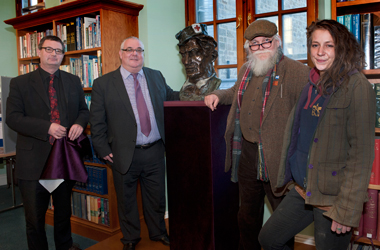 (l-r) Hamilton Town House Librarian Scott Main, Chair of South Lanarkshire Leisure and Culture David Watson,  Sculptor Frank Casey and Sculptor's Assistant Laura Robain