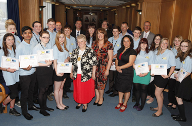 all th eyoung apprentice candidates with Provost Eileen Logan