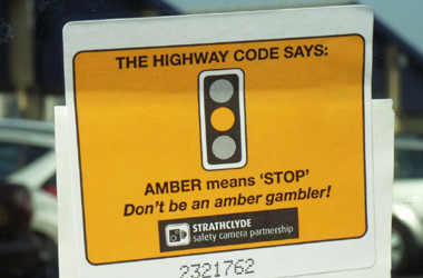 Amber means STOP sticker used during advertising campaign being run by Strathclyde Safety Camera Partnership