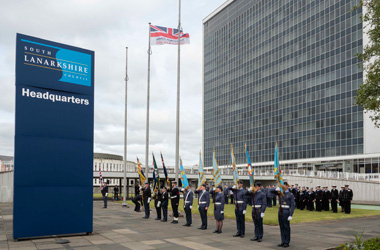 Armed Forces Day flag raising outside Council HQ