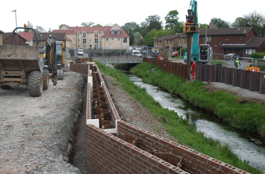 flood defence project taking place alongside watercourse (image courtesy of SEPA)